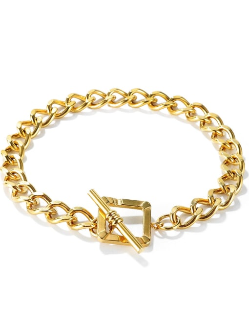 1148 Bracelet [gold plated] Titanium Steel Hollow Geometric Chain Vintage Link Bracelet